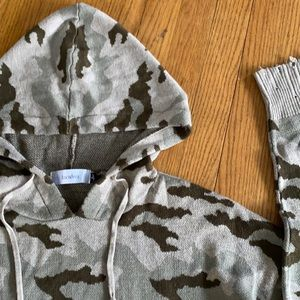 Distressed camo hooded sweater